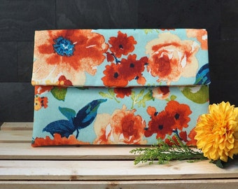 Floral envelope clutch, multicolored red blue orange flower purse, summer handbag, de almeida designs