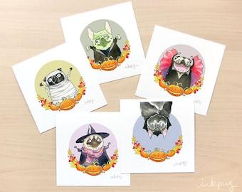 Halloween Pugs Prints - Pug Halloween Decorations, Halloween Wall Art, Pug Fall Decor, Pug Art for Halloween, Fun Pug Paintings by Inkpug
