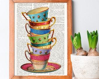 STACKING TEA CUPS Dictionary Art, Stacked tea cups, Vintage tea cups, Tea cup, kitchen wall art, Kitchen Print, Wall Decor, tea art, #155