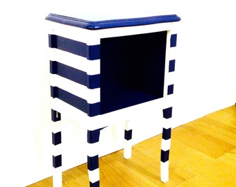 Nightstand THE SARDINE -- Blue handpainted upcycled by SophieLDesign