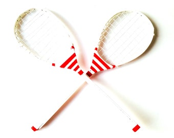 Set of  2 VINTAGE RACKETS -- Wooden midcentury tennis rackets, upcycled, red and white stripes, handpainted by SophieLDesign