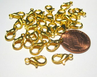 20pcs Bright Gold Tone Lobster Claw Clasps 12mm Jewelry Supplies (No.NFG)