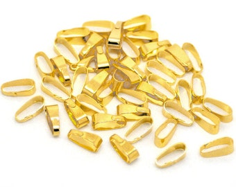 Gold Plated Pinch Clip Bails 11x4mm Snap on Bails (No.873)