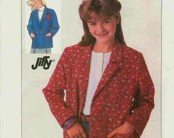UNCUT Girls' Size 10 Jacket Loose Fitting Unlined, Simplicity Sewing Pattern 7778 Vintage 1980s