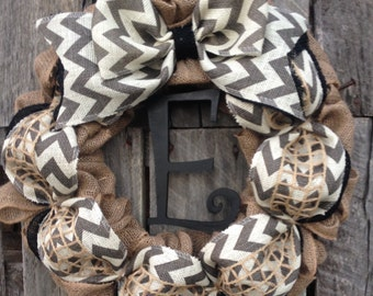 Winter Wreath, Burlap Wreath, Initial Door Hanger, Monogram Wreath, Fall Wreath, Summer Wreath, Personailzed Door Wreath, Front Door Decor