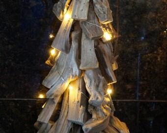 LED Driftwood Tree, Nautical Driftwood Coastal Home Decor, White Finger Starfish, Beach Christmas