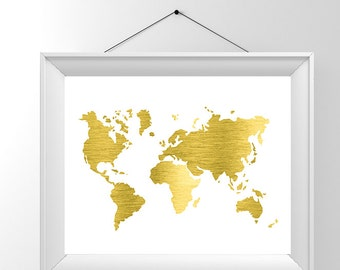 Gold map etsy a3 large gold foil map map of the world real gold foil foiled gumiabroncs Image collections