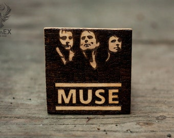 Magnet with pyrography, rock, music, muse, muse band, matthew bellamy, dominic howard, original surreal art, emblem