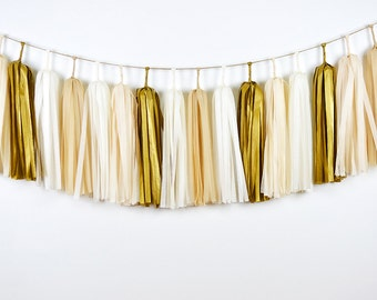 Gold Champagne Tassel Garland, Gold Tassel Garland, Gold Wedding Garland, Gold Nursery Garland, Neutral Garland, Neutral Baby Shower