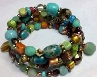 Memory Wire Wrap Around Gemstone Bracelet ~ #1 Seller