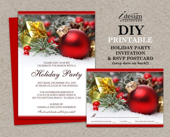 Items similar to Festive Christmas Invitations With RSVP