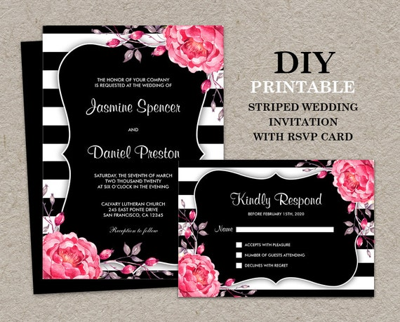 White Wedding Invitations: Floral Black And White Stripe Wedding Invitation With RSVP