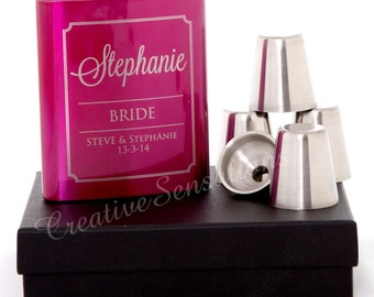 Engraved 7oz Pink Wedding Hip Flask Gift Set Personalised Bridesmaid Present