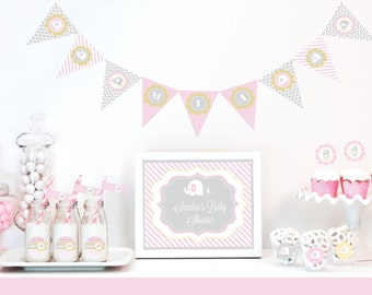Personalized Pink Elephant Baby Shower Decorations Kit