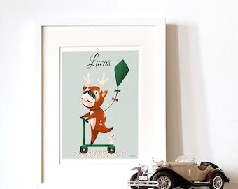 customed art print for kids  -  Adorable Costumed - The Deer