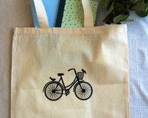 Bike canvas tote bag/ monogram/custom tote/ market bag/ canvas shopping bag/ custom monogram/ personalized bag/ market tote/