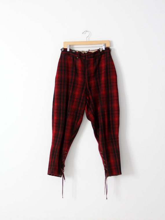 vintage 40s woolrich hunting pants red wool plaid pants with