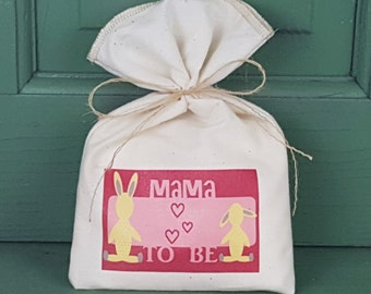 Baby Shower Favor Bag, Muslin Bag, Mama To Be, Fabric Bag, 5 x 8, Girl, Girl Baby Shower