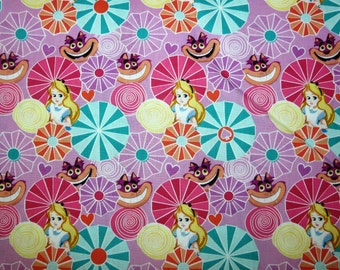 Fabric - Alice in Wonderland- Alice and cat - cotton print.