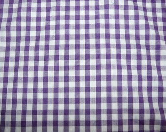 CLEARANCE - Purple and white gingham check fabric  - 100cm remnant