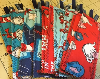lot of 10 Dr. Seuss Cat in the Hat fabric bookmarks