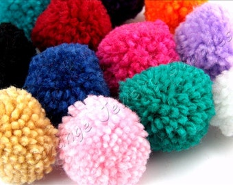 Cotton Pom Pom, 20 pcs Mix Color Yarn Pom Pom, 3cm Pom Pom Trim, Wholasele Pom Pom, Ball Pom Pom, Pom Pom Supplies, Earring Jewelry Pom Poms