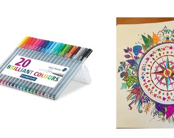 Triplus Fineliner Pens 20 Count, Brilliant Color Fine Line Pens For Creating Colorful Art And Other Creations, Vivid Colors With No Smearing