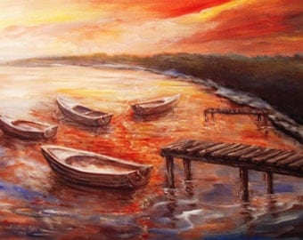 Boats Painting, Seascape,Acrylic on Canvas, Original Painting, Modern Art, Contemporary Art, Modern Painting