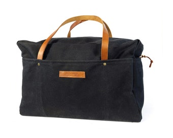 Waxed Canvas Duffle Bag - Black