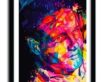Affiche Paul Newman Print by Alessandro Pautasso