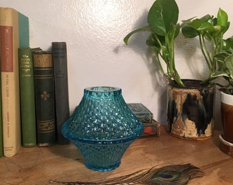 Uranium Glass Fairy Lamp // Vintage / Aqua Blue / Honeycomb