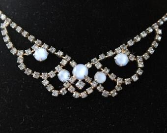 Vintage Blue Rhinestone Statement Necklace