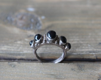 Vintage Sterling Silver Bubble Black Onyx Ring Size: 6.5