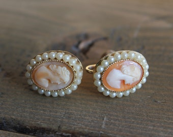 Vintage Coro Cameo Gold Plated Earrings