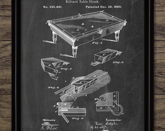 Billiard Table Patent Print - 1880 Snooker Table Design - Pool Table - Billiards Sport - Pool Player - Single Print #1520 - INSTANT DOWNLOAD