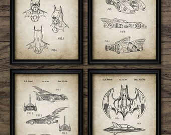 Batman Patent Print Set Of 4 - Batwing - Batjet - Batmobile - Batman Mask Design - Printable Art - Set Of Four Prints #454 -INSTANT DOWNLOAD