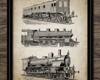 Vintage Steam Locomotive Print - Steam Train Print - Railroad Art- Vintage Railway Illustration - Single Print #1118 - INSTANT DOWNLOAD