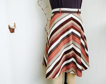 1970's a-line chevron print handmade skirt with fall colors and belt loops | fall skirts | seventies skirts