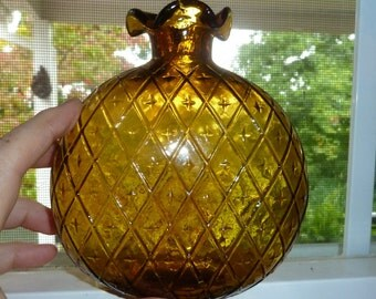 """Vintage Amber """"Canteen"""" Bottle"""
