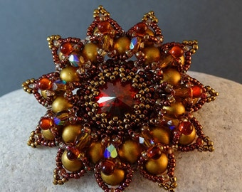 Brooch//Red//Bronze//Copper//Pearl//Crystal//Free Shipping