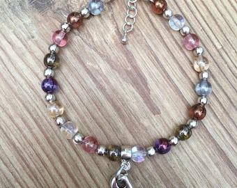 Czech glass and heart bracelet
