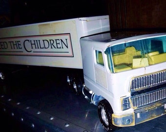 Vintage Nylint Toy Semi Truck and Trailer - Feed The Children Trailer - Classic Nylint Metal Toy Vehicle - Big Rig Charity Hauler