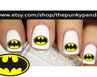 Buy 2 Get 1 Free-180 Decals Total-60 Nail Decals Per Set - BATMAN - Super Hero - Nail Art