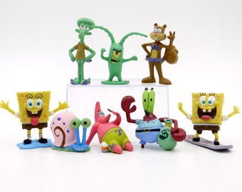 "SpongeBob Square Pants Set Of 8 1-1/2""- 2-3/4"" Birthday Cake Topper Figurines Set"