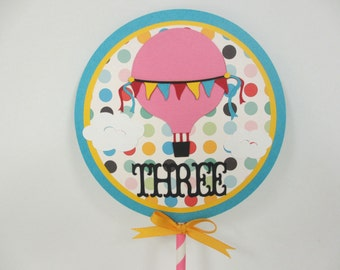 Hot Air Balloon Cake Topper / Smash Cake Topper Birthday Party Shower Red Pink Blue Yellow