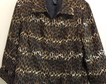 Vintage Silk Leopard Print Jacket 1980's Size Medium Lined Animal Print Jacket