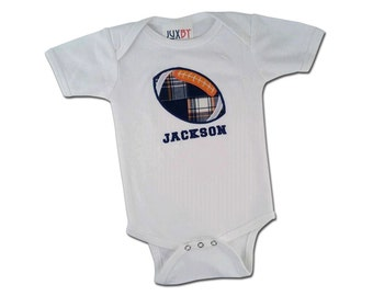 Baby Boy Football Bodysuit with Embroidered Name - M37