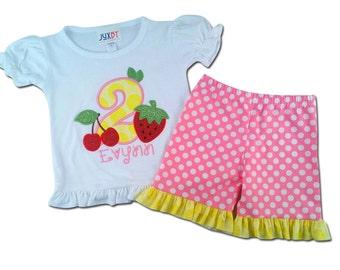 Girl's Fruity Birthday Shirt with Polka Dot Ruffle Shorts