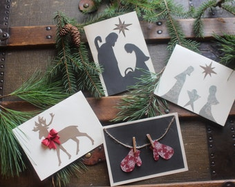 Pack of Five Rustic Homemade Christmas Cards