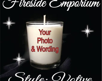Personalized Votive Candle with Your Choice of Gift box, ribbon and personalized label or Wrapped in Tulle with with Ribbon